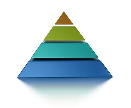 hierarchy: sliced pyramic, 4 levels isolated over a white background