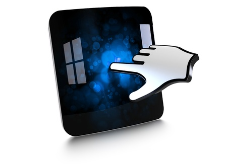 computer hand touching the screen of a smartphone with a cloud shape Stock Photo - 10328506