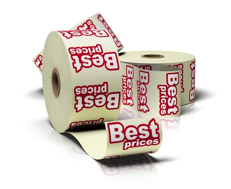 3 best price sticker rolls over a white background with reflections Stock Photo - 10328511
