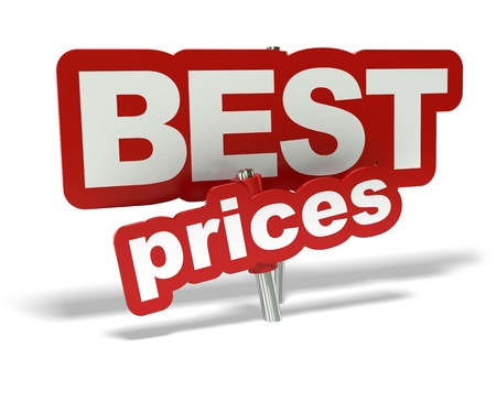 competitive business: red best prices tag over a white background Stock Photo