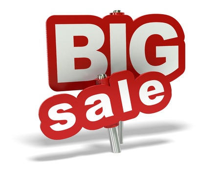 red big sale tag over a white background Stock Photo - 10328508