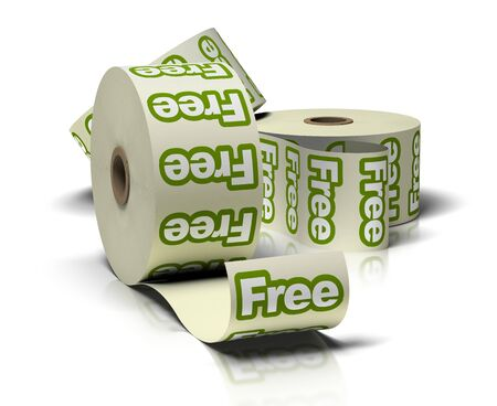 freebie: Free roll of green stickers over a white background Stock Photo