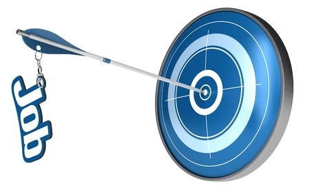 blue target and an arrow hitting the center, the arrow have the word job attached the image is isolated over a white background photo