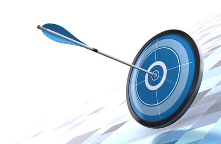 objectives: blue target and arrow over a modern background image is placed on the bottom right side  Stock Photo