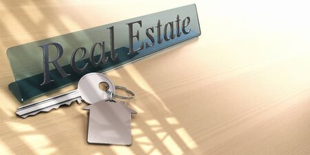 real estate office detail with key and keyring photo