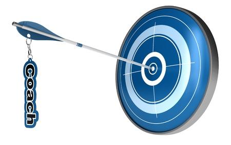 competitividad: Flecha golpear el centro de una diana. El entrenador de la palabra se fija en la flecha, la imagen est� aislado en el fondo blanco Foto de archivo