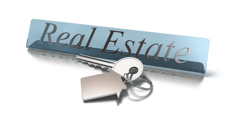 Word real estate and key with keyring with shaped house white background Stock Photo - 10521277