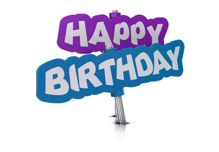 happy birthday tag, white background