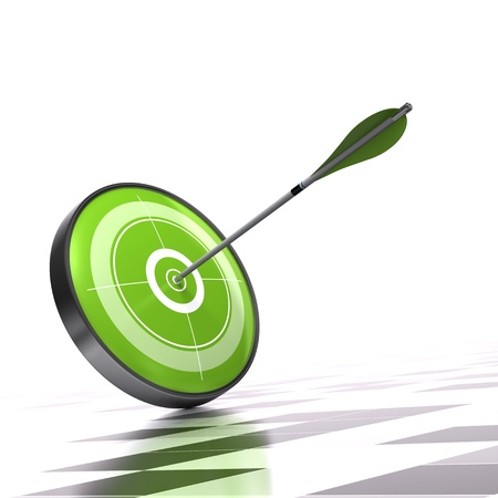 competitive: Green target and arrow over a checker background Stock Photo