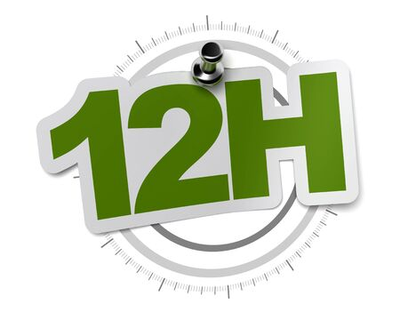 number twelve: 12H, twelve hours sticker over a gray watch dial, image over a white background
