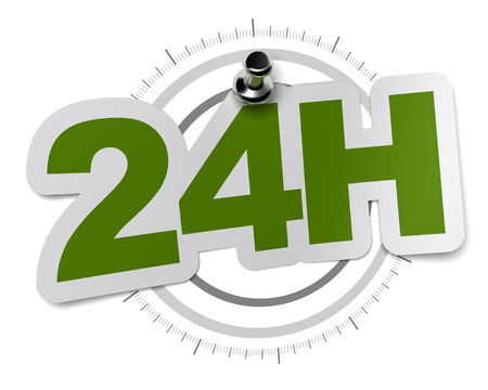 hrs: 24H, twenty four hours sticker over a gray watch dial, image over a white background