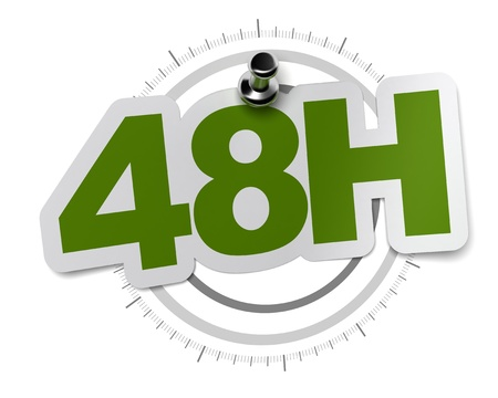 hrs: 48H, fourty height hours sticker over a gray watch dial, image over a white background