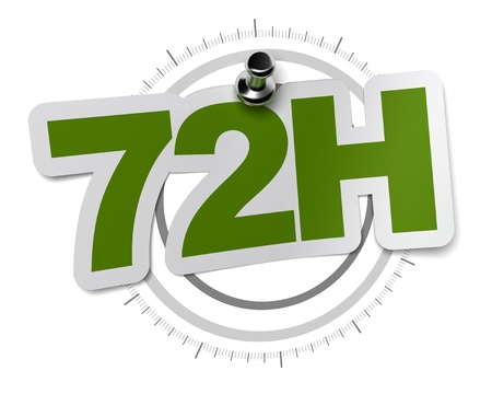 seventy: 72H, seventy two hours sticker over a gray watch dial, image over a white background