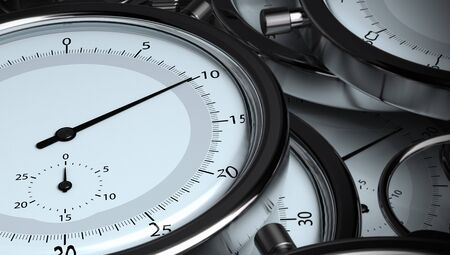 seconds: many stopwatches, 3D horizontal render. Image the tone is blue and grey, the needle of the front stopwatch is positioned on 10 seconds