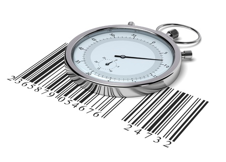 stopwatch and barcode over white background - delivery concept photo