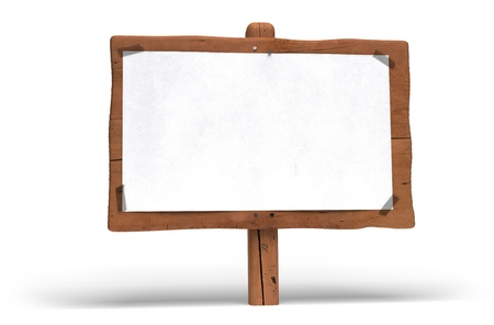 wood sign: large wooden panel over white background. A white paper is fixed on the wood sign with plastic tape for writing communication message