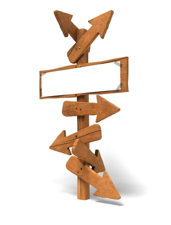 many arrows on a wooden post and a white sign for writing a message - Image is over a white background  photo
