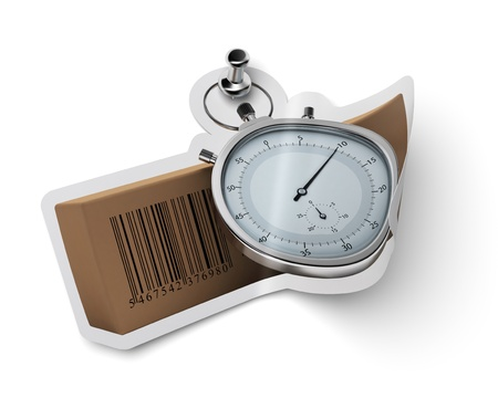 sticker with carton box  and stopwatch fixed onto a white wall with a thumbtack photo