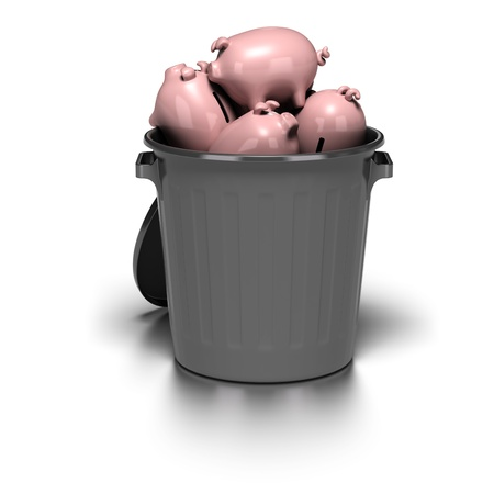 many piggy banks inside a grey garbage can. image is over a white background with reflection Stock Photo - 10794255