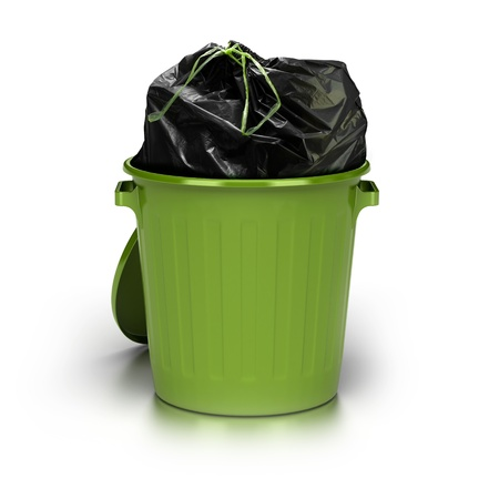 bin: green garbage can over a white background with a plastic closed bag inside - studio shot plus 3d trash