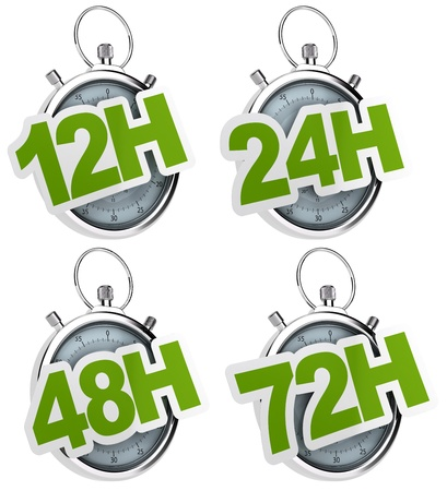 24 hour: 12H, 24H, 48H, 72H sticker over a gray stopwatch, image isolated over a white background