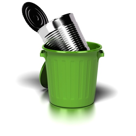 reprocess: big steel can inside a green trash can. image is over a white background