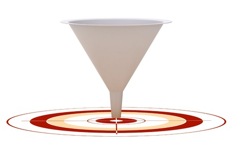 conversion: 3D marketing conversion funnel used for rate analysis over a red target  Stock Photo