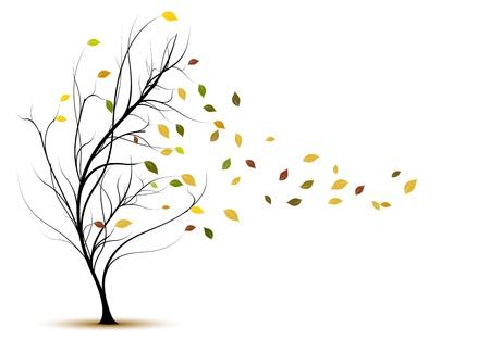 원예: 갈색 나뭇잎과 바람과 함께 가을 장식 나무 실루엣 일러스트