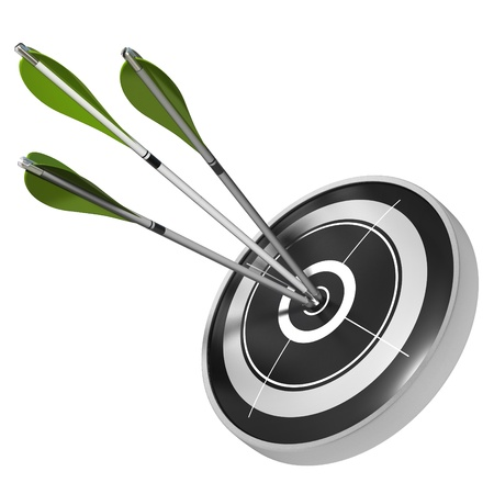 convergence: three green arrows hitting the center of the same black target, 3d render image over white background Stock Photo