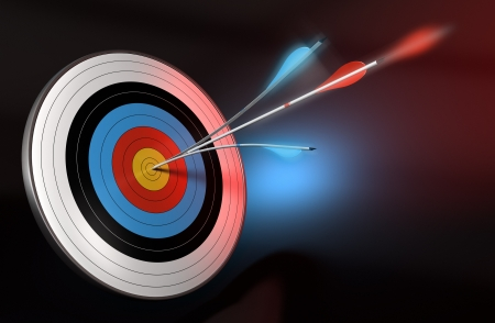 one blue arrow splitted with a red arrow hitting the center of a target, 3d render over black, blue and red background Stockfoto