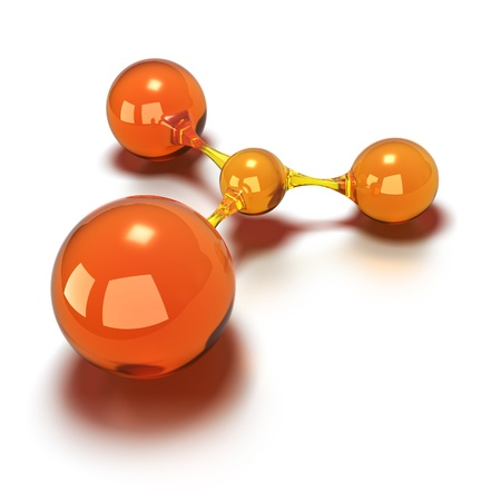 mol�cula: orange spheres every balls are connected to each other, 3d concept image over a white background