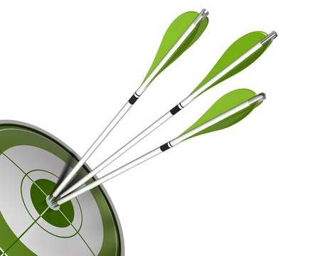 combined effort: 3 arrows hitting the center of a green target 3d render isolated white background, border angle of a page