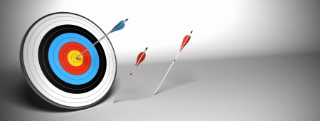superiority: Target and arrow over a gray background horizontal banner. the blue arrow hit the center of the target and the red ones failed to reach their goal