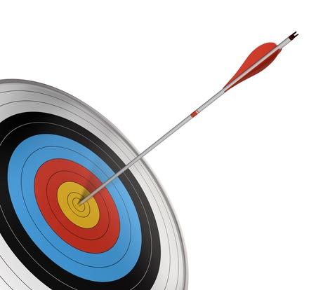 metas: objetivo oficial de la competici�n con una flecha roja golpeando el centro. �ngulo de la p�gina, 3d aislado sobre fondo blanco. Foto de archivo