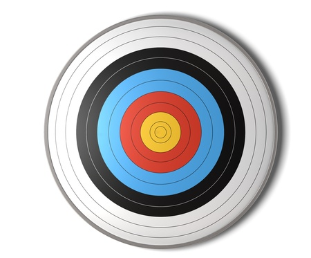 face view of an archery target over a white background with shadow photo