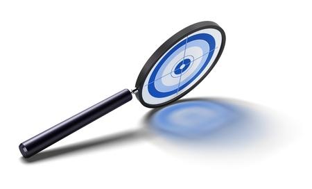 estuche: lupa con un objetivo de azul dentro de un an�lisis especial - la imagen sobre un fondo blanco con reflejos.