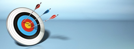 target business: una flecha golpear el centro de una diana, dos rojos no llegaron a sus objetivos bandera, horizontal