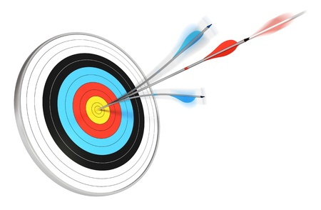 careerist: one blue arrow splitted with a red arrow hitting the center of a target, 3d render over white background