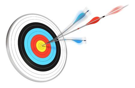 competitividad: una flecha azul dividido con una flecha roja golpeando el centro de una diana, 3d sobre fondo blanco Foto de archivo
