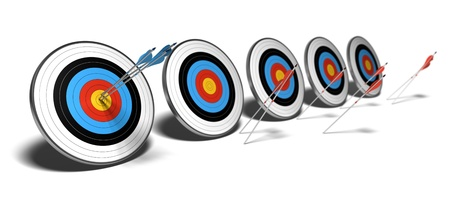 many targets over a white background with shadow. The first set of blue arrows hit the center of the first target, The red arrows failed to reach their objectives.  photo