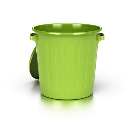 opened and empty green trash bin over a white background with reflection.