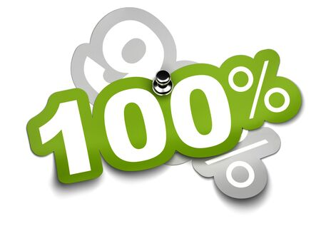 ninety: one hundred percent sticker fixed onto a ninety sticker by a thumbtack, color is green over a white background