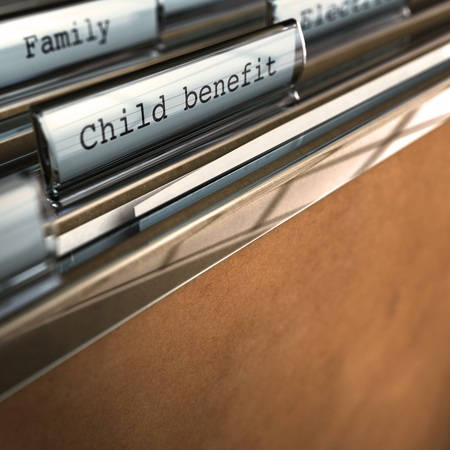 classifying: child benefit writen onto a folder, there is room for text a the bottom, blur effect
