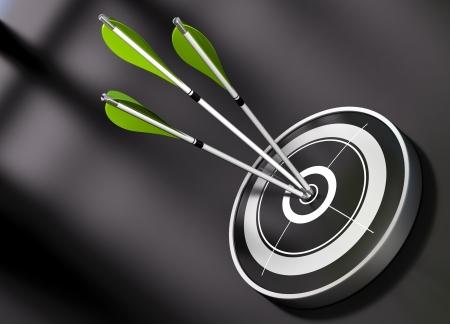 3 gren flechas golpear el centro de un blanco negro, el concepto de asociación sobre un fondo negro Foto de archivo