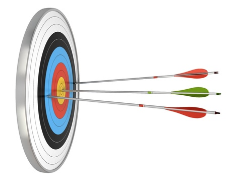conquer adversity: target and three arrows, the green one hit the center and the red ones failed to reach they goals. target isolated over a white background