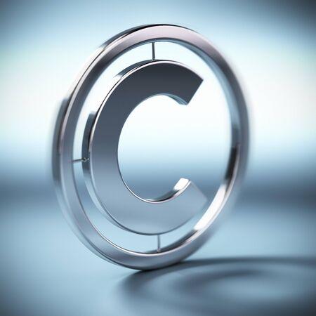 de metal símbolo de copyright en una imagen de fondo cuadrado azul con el desenfoque