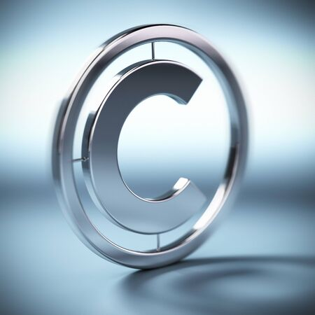 metal copyright symbol onto a blue background square image with blur photo