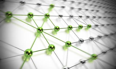 interconnection: many balls linked together and composing a network, some shp�res are green and others are made in chrome material, blur effet
