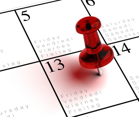 13: friday the 13th written onto a multilingual calendar with a red thumbtack with transparency Stock Photo