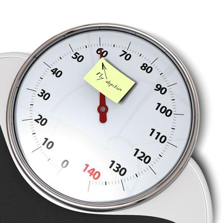 objetivo: básculas de baño sobre un fondo blanco y la nota de color amarillo para el objetivo personal Foto de archivo